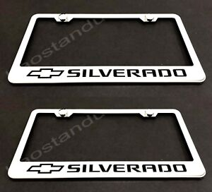 2x SILVERADO STAINLESS Chrome License Plate Frame w/screw Caps (Style L)