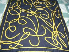 NEW Woman's 34X35 Square Mondi Navy Blue $& Gold Abstract Design 100% Silk Scarf