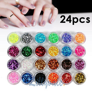 24 Mix Colours Nail Art Craft Acrylic Fine Glitter Powder Pots Tips Decoration