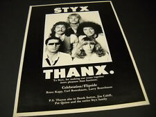 Styx .a bold Thanx 1980 Promo Display Ad in mint condition