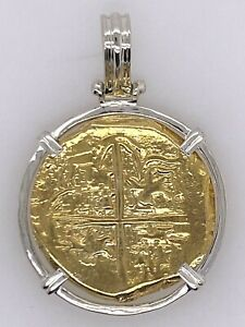 ATOCHA Coin Pendant Sterling Silver Frame Gold Coin Treasure Jewelry