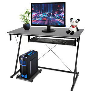 Z-Shaped Computer Desk Laptop PC Table Home Office Study With Keyboard Shelf