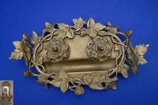 Tintenfass alt Bronze 21,5 x 12,5 x 4 cm Jugendstil Schreibtischgarnitur Floral