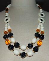 TRIFARI TM White Topaz Black Acrylic Bead Beaded Statement Necklace Vintage