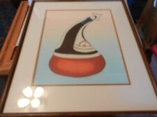 Navajo Pot with Lady, Watercolor Painting by Esther H. Cajero Framed & Matted