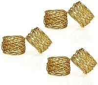 Handmade Gold Round Mesh Napkin Rings Set of 6 Holder for Dinning Table Parties