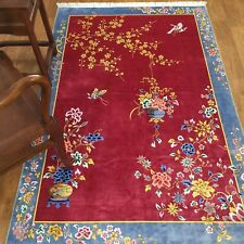 YILONG 4'x6' Red Handmade Chinese Art Deco Silk Rug Flower Basket Home Carpets