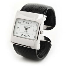 Black Silver Leather-Like Band Square Case Women's Bangle Cuff Watch