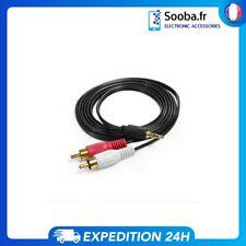Câble adaptateur audio jack 3,5 mm stéréo mâle vers 2x rca mâles 1m Noir