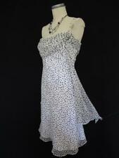 White House Black Market Silk Dress 4 Asymmetrical Side Drape Ruched Bust Dots