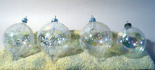 4 VINTAGE GLASS CHRISTMAS ORNAMENTS LARGE TEARDROP SNOWFLAKE ROUND BULBS