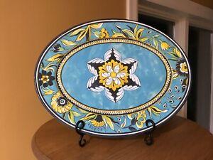 Williams Sonoma Oval Serving Platter Melamine Outdoor Plastic Blue/Yellow/white