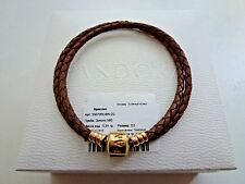 """Pandora Braided Double Leather Bracelet Gold Clasp 38 cm/15"""" Brown Rare with tag"""