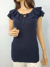 American Living Womens Blue Ruffle Flutter Neck Short Sleeve Knit Top Size Large