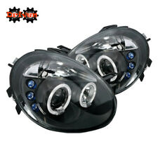 For 03-05 Dodge Neon Dual Halo Projector Headlights LED Black Housing Clear Lens