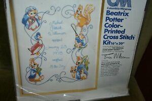 Vintage 1977 Beatrix Potter Printed Cross Stitch Kit for Nursery Sampler