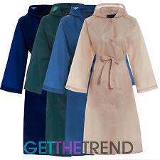 Womens Long Kagool Kag Ladies Water Resistant Shower Rain Proof Belted Mac Coat