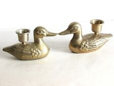"Pair Vintage Brass Duck Candleholders Candle Holders 4.75"" wide Free Sh"