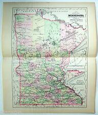 Original 1896 Copper-Plate Map of Minnesota by A. J. Johnson