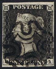 1840 1d Black Pl 5 DA 4m STATE ONE and Penny Post Very Fine Used Cat. £2000.00