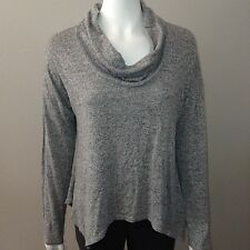 Purple Snow Knit Top Size L Large Womens Sweater Gray Cowl Neck Stretch Draped
