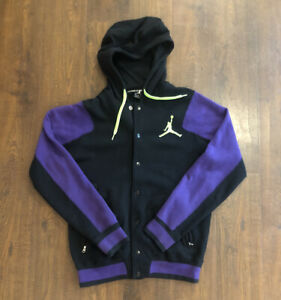 Nike Air Jordan Button Up Hooded Jacket Adult Small Purple Green Mens