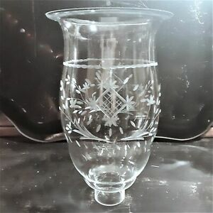 Uniquely Shaped Clear Etched Glass Hurricane Shade w/ Wheat & Diamond Pattern