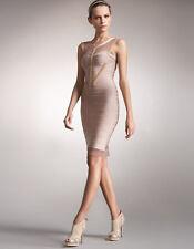 "$3,500 NWT Authentic Herve Leger Runway ""Meriam"" S Nude Mesh Bandage Dress"