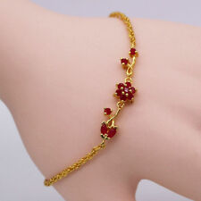 Charm Women Jewelry Red Ruby Flowers 24K Gold Plated Bracelet Hand Chain