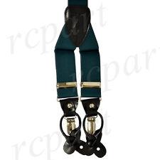 New in box Men's Elastic Suspender Hunter Green Braces clips buttons