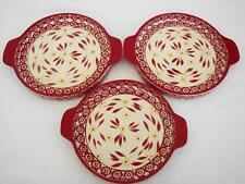 #24 Temptations Old World Red Cranberry Lot 3 Shallow Baking Dishes Pizza Tart