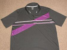 Adidas Golf Mens Black & Purple Athletic Polo Collared Tennis Jersey Shirt XL