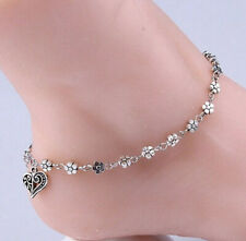Bracelet With Dangling Heart Anklet New Women'S Silver Floral Chain Ankle