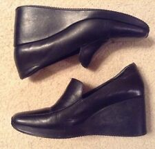 EUC! Women's David Aaron Black Leather Upper Balance Wedges Sz 8.5-9