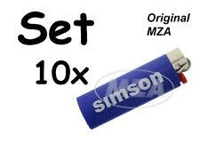 Simson 10x Accendino BIC blu Tappo cromato - Lettering: Veloce Flitzer Suhl