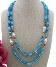 FC031201 20mm Pearl 10mm Turquoise Carnelian Necklace