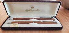 "Vintage Hallmark ""Amoco"" Logo Wood Pen and Pencil Set in Brown Velvet Box-New!"