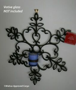 POTTERY BARN SNOWFLAKE CANDLE SCONCE (LARGE) – NIB – LET IT GLOW, LET IT GLOW!