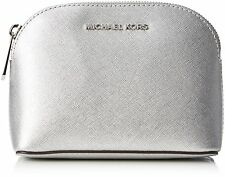 Michael Kors Cindy Saffiano Leather Travel Pouch Cosmetic Bag Case Silver Nwt