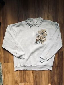 Vintage 90s Morning Sun Grandma Sweater sweatshirt Grey Cat Graphic Size L
