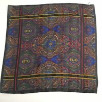 Made In Italy Scarf Square Black Multi 30 x 30 Polyester Scrolls Paisley