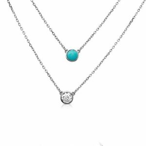 2 STRANDED NECKLACE W/ LAB DIAMOND & TURQUOISE / 925 STERLING SILVER /18'' CHAIN