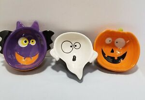 """Vintage Lot Of 3 Holiday Home Halloween Treat Bowls Ghost Witch Bat EUC 6""""×6""""×2"""""""
