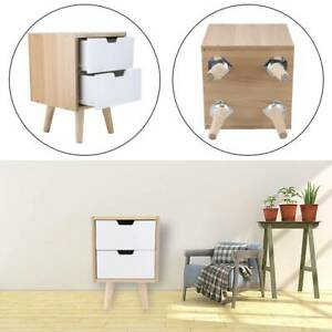 New 2 Drawer Chic Nightstand Bedside Cabinet Wooden Small Storage Table White UK