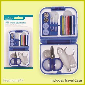 14 Piece Travel Mini Sewing Kit Needle Thread Tape Scissor Stitching Buttons Box