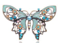 Lady Antique Green Enamel Paint Butterfly Rhinestone Flower Pin Brooch Jewelry