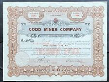 CODD MINES CO. Stock 1914. Rawhide, Mineral Co., NV. President A.A. Codd.  VF++