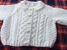 brand new hand knitted baby cardigans 3 - 6 months Aran Style White Boy Or Girl