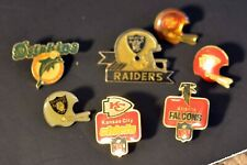 LOT 7 Various Vintage Football Pin Button Raiders 49ers Dolphins Chiefs Falcons