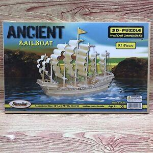Puzzled Ancient Sailboat 3-D Puzzle Wood Craft Constrution Kit 91 Piece #1425